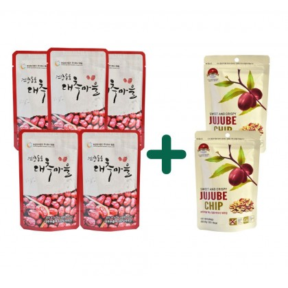 100% Pure Premium Dodum Korean Red Dates Intro Pack (Red Dates Juice/Jujube Juice/Jujube Tea 100ml x 5 & Red Dates Chips/Jujube Chips 30g x 2)