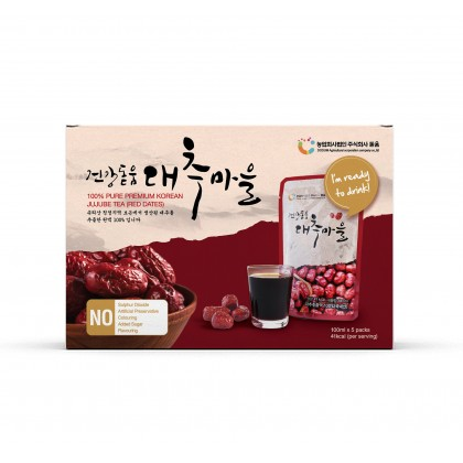 100% Pure Premium Dodum Korean Red Dates Juice/ Jujube Juice/ Jujube Tea 100ml x 5
