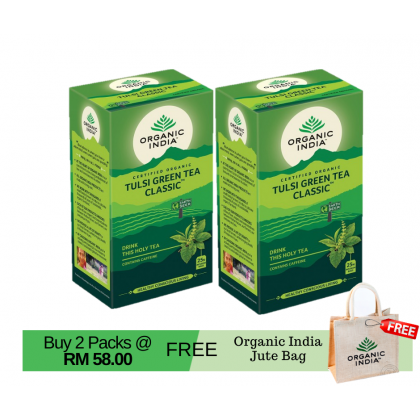 【FREE GIFT】Organic India Certified Organic Tulsi Green Tea Classic x 25 Packs x 2 (Free Eco-Friendly Jute Bag)