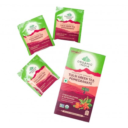 Organic India Certified Organic Tulsi Green Tea Pomegranate 2.0g x 25 Packs