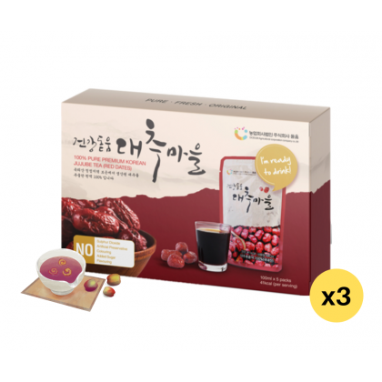 100% Pure Premium Dodum Korean Red Dates Juice/ Jujube Juice/ Jujube Tea 100ml x 5 x 3