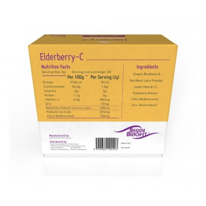 Berry Bright Elderberry-C with Vitamin C & Zinc 2g x 30 sachets [On-The-Go Immune Support]