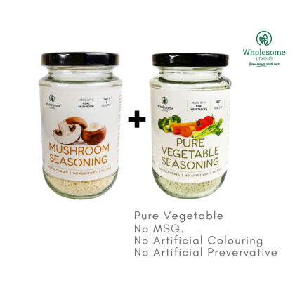 Wholesome Living Mushroom Seasoning 150g x 1 + Vegetable Seasoning 150g x 1 (No MSG. Real Food)