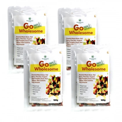 GO Wholesome (Mix Fruits & Nuts) 100g x 4 - [Raw & Natural Healthy Snack]