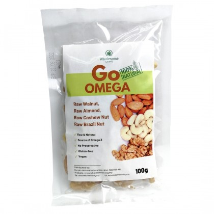 [POWER-UP BUNDLE] GO Wholesome (Mix Fruits & Nuts) 100g x 3 + GO Omega (Mix Nuts) 100g x 3  - [Raw & Natural Healthy Snack]