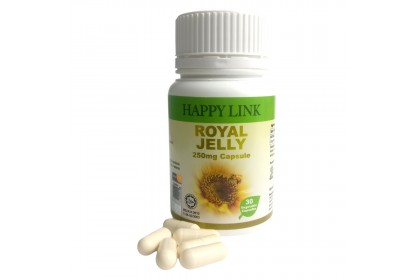 Happy Link Royal Jelly 250mg x 30 Vegetable Capsules [Certified HALAL]